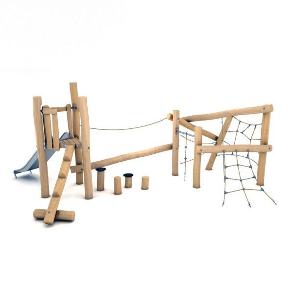 Speelcombinatie met glijbaan, evenwichtsparcours, balanceerbalk en klimnetten