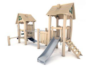 Speelcombinatie met twee lage torens, glijbaan, netbrug en diverse speelprikkels